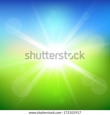 Green field and blue sky with sun burst. Vector background. - stock vector