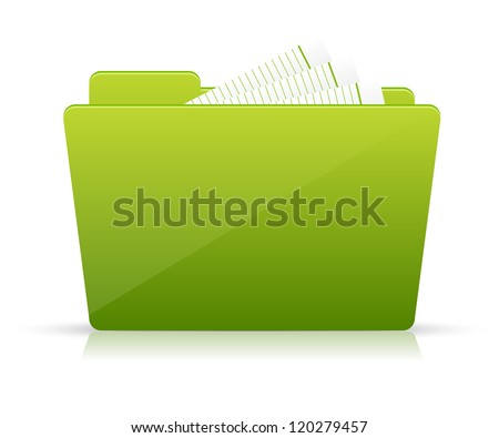 Green file folder icon - stock vector