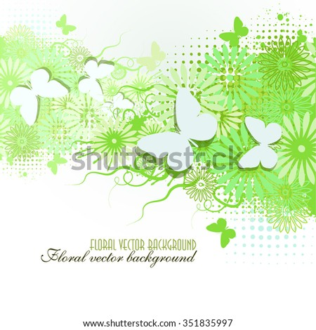 Green floral abstract background with butterflies. Vector - stock vector