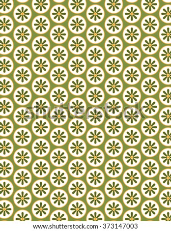 Green flower pattern over green color background - stock vector