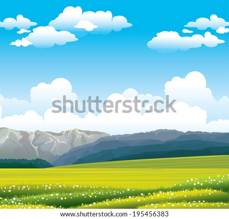 Green flowering field with forest and mountains on a blue sky with clouds. Nature vector landscape. - stock vector