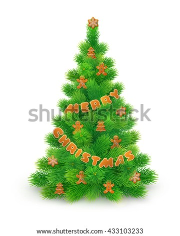 Green fluffy Christmas tree with gingerbread, isolated on white background, vector illustration - stock vector
