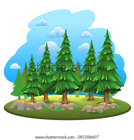 Green forest 2 - stock vector