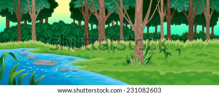 Green forest. Vector cartoon illustration - stock vector