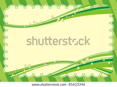 Green frame with stars - stock vector