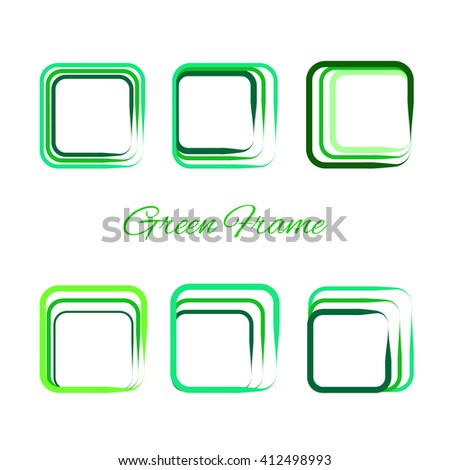 Green frames set. Modern style. Vector Illustration. Concept design. For Art, Print, Web design. Ecology. World environment day. - stock vector