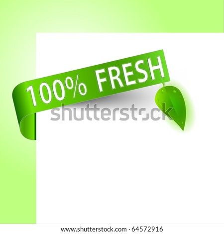 Green fresh paper tag with small leaves - stock vector