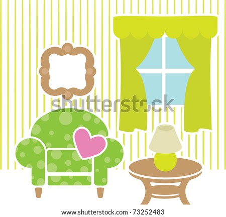 Green furniture in living room - stock vector