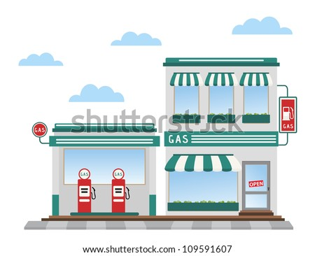 green gas station pumps and shop - stock vector