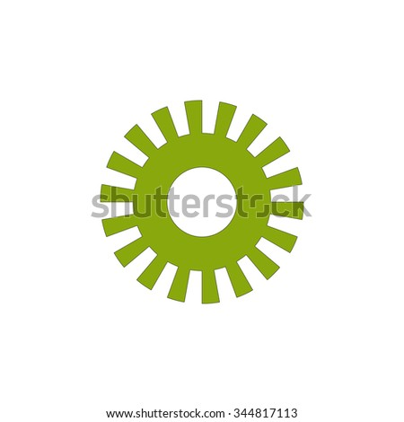 green gear wheel on white background latex          - stock vector