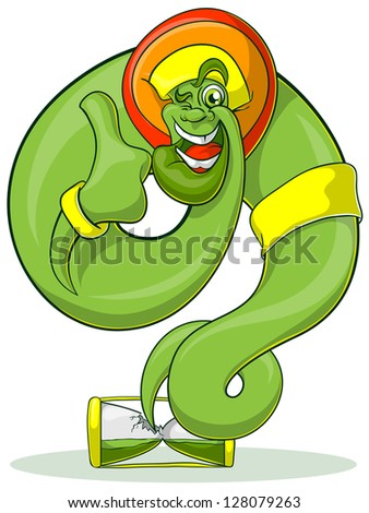 Green Genie rastaman flying out hourglass. Jolly Genie shows thumb. - stock vector