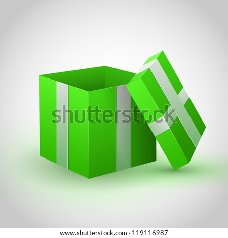 Green gift box on gray background - stock vector