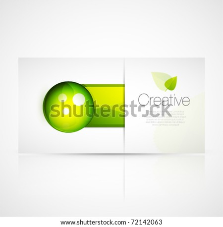 Green glass design template - stock vector