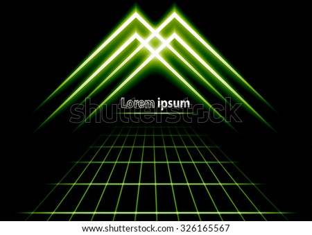 green glitter abstract futuristic perspective background with simple arrow logo. Vector illustration - stock vector