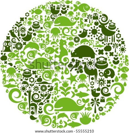 Green globe outline made from birds, animals and flowers icons - stock vector