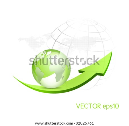 Green globe with arrow and dotted world map in the background - glossy eco symbol - stock vector