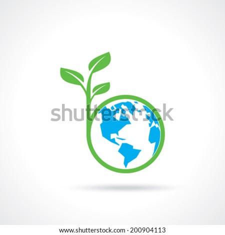 green globe with green tree america - stock vector
