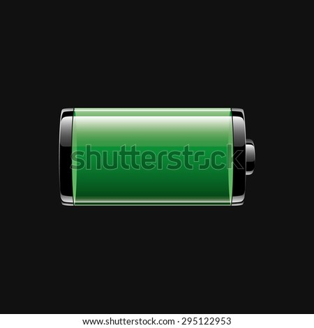 green glossy battery icon on dark background, full charge level, vector illustration - stock vector