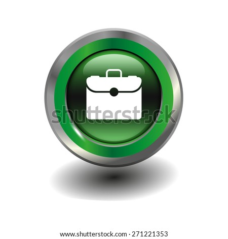 Green glossy button with metallic elements and white icon briefcase, vector design for website - stock vector