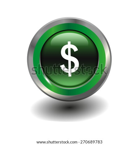 Green glossy button with metallic elements and white icon dollar, vector design for website - stock vector