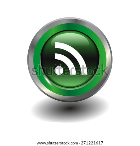 Green glossy button with metallic elements and white icon wi-fi, vector design for website - stock vector
