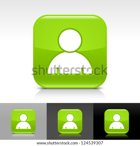 Green glossy button with white user profile sign. Rounded square shape icon with reflection, shadow on white, gray, black backgrounds. Vector illustration web design elements in 8 eps - stock vector