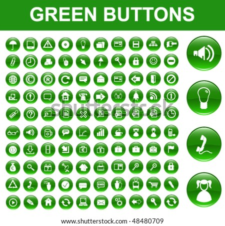 Green Glossy Buttons - stock vector
