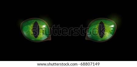 Green glossy cat's eyes on black background. Vector EPS10. - stock vector