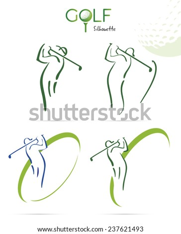 Green golf silhouette icons, illustration isolated on white background - stock vector