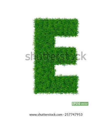 Green grass alphabet. Vector illustration. - stock vector