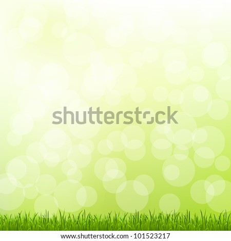 Green Grass And Bokeh And Blur, Vector Illustration - stock vector
