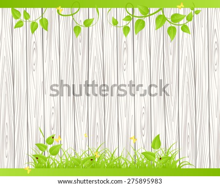 Green grass and leaves over wood fence background - stock vector