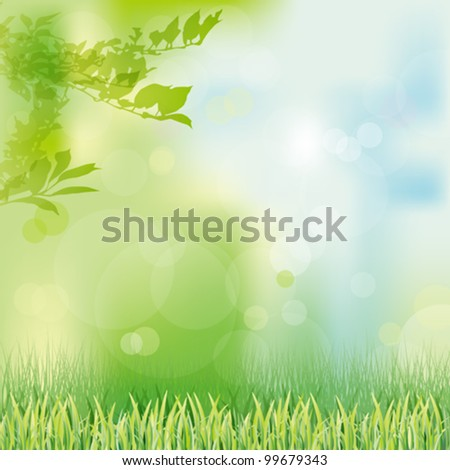 green grass background - stock vector