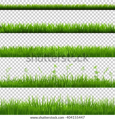 Green Grass Borders Big Set, Isolated on Transparent Background, Vector Illustration - stock vector