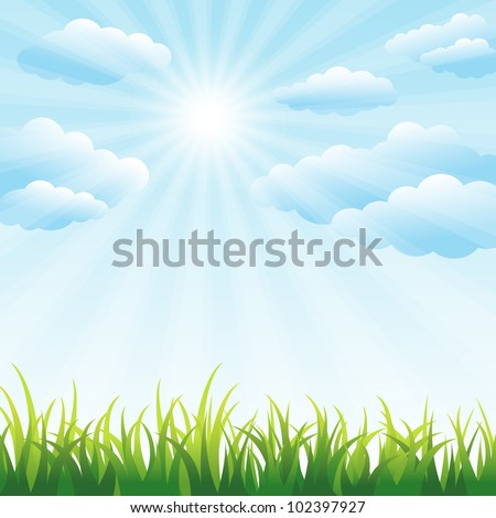 Green grass field and blue sky vector background with clipping mask - stock vector