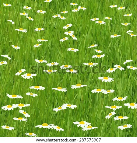 Green grass field. Watercolor vector pattern with daisies for you design. - stock vector
