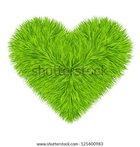 Green grass heart. Vector. 10eps - stock vector