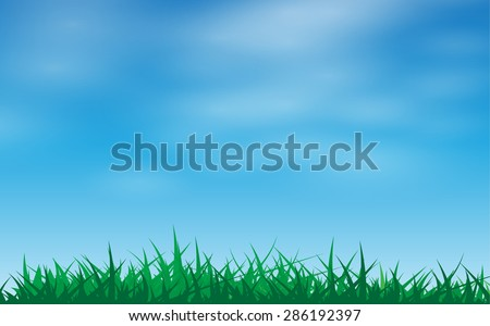 Green grass in a blue sky vector illustration - stock vector