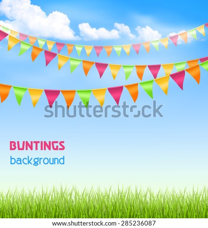 Green grass lawn with bright buntings clouds on blue sky - stock vector