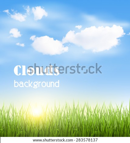 Green grass lawn with clouds and sun on blue sky - stock vector