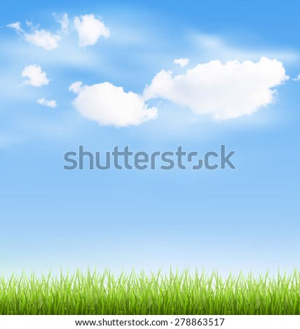Green grass lawn with clouds on blue sky - stock vector
