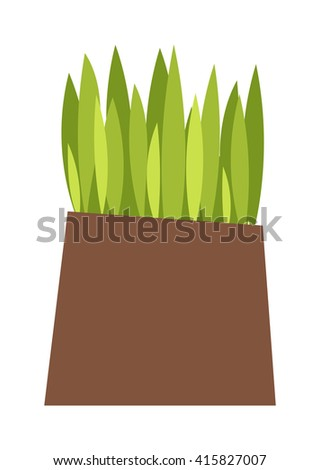 Green grass showing roots. Green grass with earth crosscut. Grass with earth green, nature, background and green nature grass with earth. Ground dirt spring garden texture concept grow agriculture. - stock vector