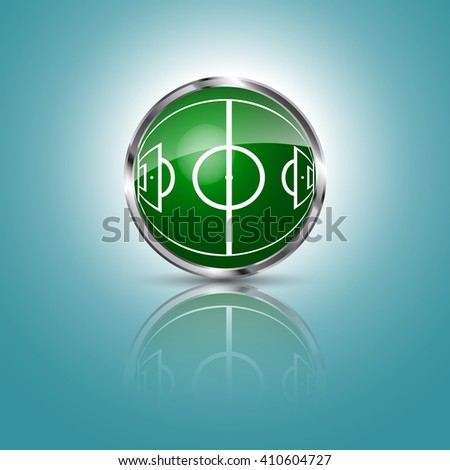 Green grass sphere with soccer field on a blue clear background. Vector illustration. - stock vector