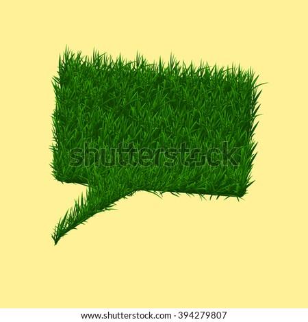 Green grass square speech bubble. Summer and spring concept. Vector illustration - stock vector