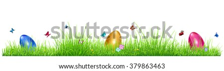 Green grass with Easter eggs, flowers and butterflies isolated on white background - stock vector