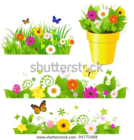 Green Grass With Flowers Set, Isolated On White Background, Vector Illustration - stock vector