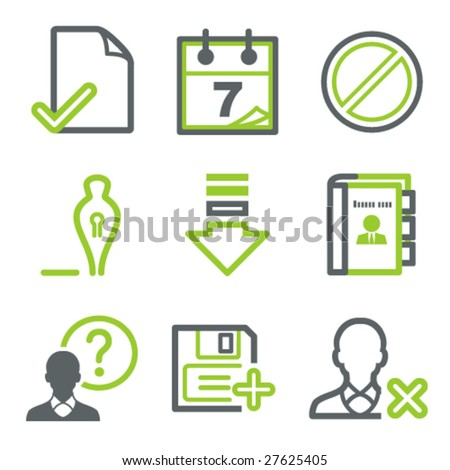 Green gray contour set 2 - stock vector