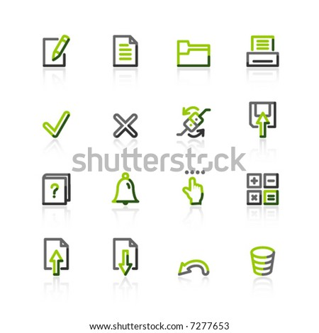 green-gray notebook icons - stock vector
