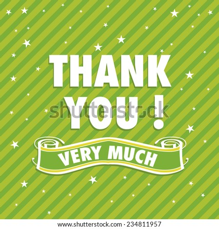 Green greeting with the text thank you very much written with white letters - stock vector