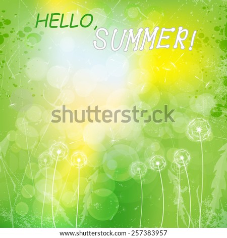 green grunge background with white dandelions.vector illustration  - stock vector